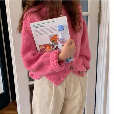 粉色毛衣女針織外套開衫寬松慵懶秋冬外穿短款上衣秋季2020年新款