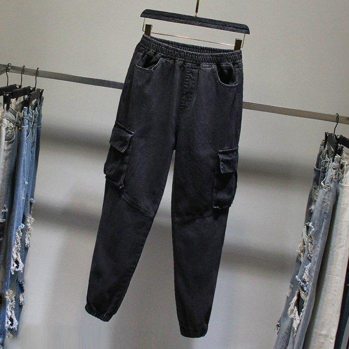 喬羽XL-4XL中大尺碼大碼九分縮口牛仔褲~HQ091102