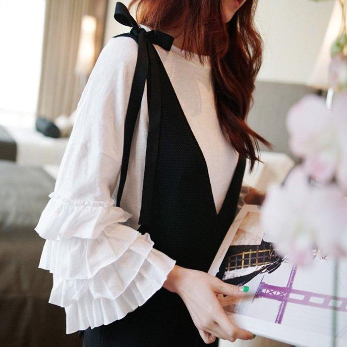 七分袖T恤  設計款春夏棉質七分荷葉袖上衣 艾爾莎【TAK8278】