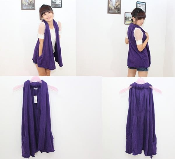 ☆Pink&Angel☆【246】百搭時尚風格 針織外罩衫背心款 。紫色。  現貨