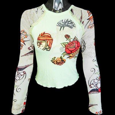法國品牌Bony果綠色特殊造型設計網紗拼接玫瑰花邊長袖上衣