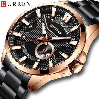 【潮裡潮氣】CURREN卡瑞恩男士手錶防水石英鋼帶錶商務休閒日曆男錶8372