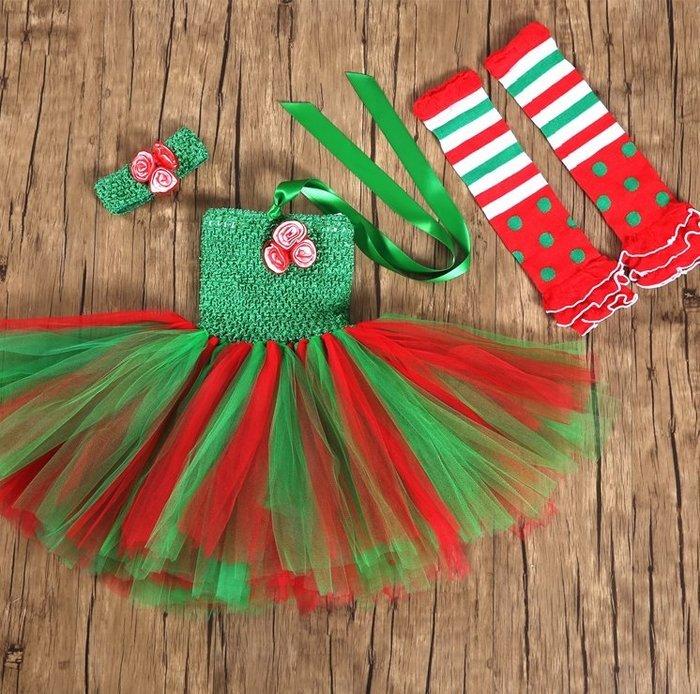 【小阿霏】兒童耶誕節小禮服服裝含髮飾 女孩tutu小洋裝 女童紗裙蓬蓬裙 中小大童聖誕節化妝舞會教會唱詩歌裝扮CL312