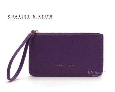 IN House* 新加坡小CK 簡約風 皮質手拿零錢包 證件卡包 手機袋 - 紫 (特價)