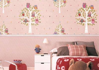 【夏法羅 窗藝】 粉紅色 貓頭鷹 小樹 大幅寬 期貨壁紙 LS-5175
