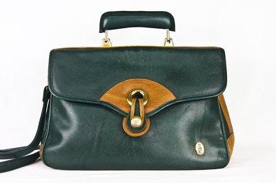 【古物箱】義大利 品牌DONNIO 牛皮 酒紅 祖母綠 手提 肩背 醫生包 ( 二手 古著 老件)