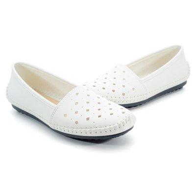 ❤含運❤鞋念 美人館 MIIT簍空素雅手縫超值平底豆豆鞋-白色 36-40碼 (251-04)