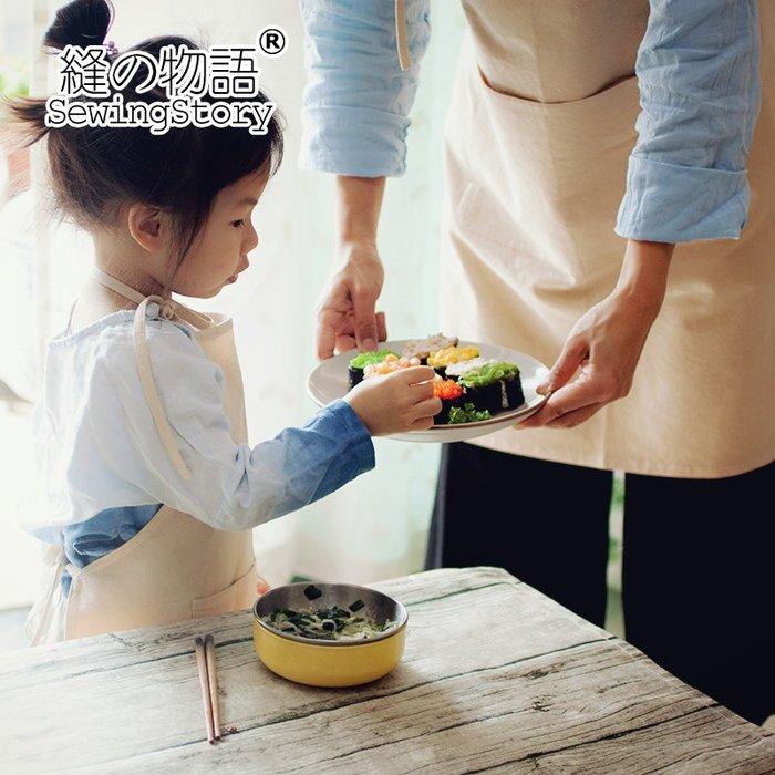 日式簡約素色仿麻砂洗面料廚房圍裙家居服烘焙咖啡屋工作服