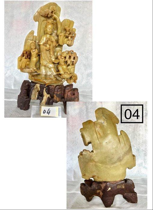 【順昌】《早期天然壽山石系 童子拜觀音雕刻 擺件(擺飾)》Y170
