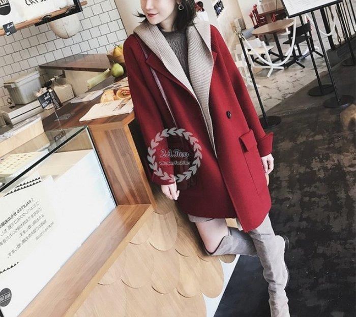 【2A Two】正韓♘大口袋 毛呢 中長款 大衣 外套 日本『381014003』