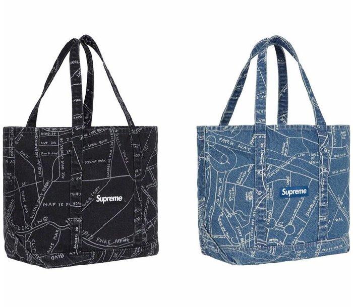 全新商品 Supreme SS19 Gonz Map Denim Tote 托特包 提袋