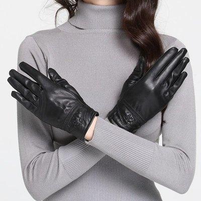 真皮手套 保暖手套-黑色綿羊皮太陽花裝飾女手套73wm47[獨家進口][米蘭精品]