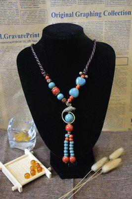 陶瓷 項鍊飾品 民族風 中國風 波西米亞風 復古文藝風 服飾掛件 飾品配飾 長款毛衣項鏈N0605