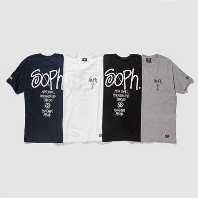 全新現貨 STUSSY x SOPHNET WORLD TOUR TEE 短T 藍色Navy Blue
