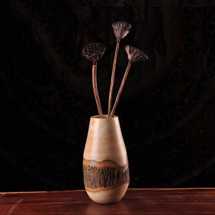 裝飾擺件 裝飾品 泰國創意實木干花花瓶日式簡約插花花器東南亞客廳餐桌裝飾品擺件