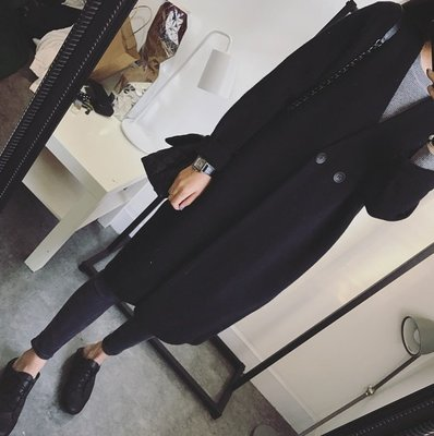 ☆Bubble Lady ☆ 韓【C1130】超厚實 質感 羊絨 雙扣 長版 大衣外套