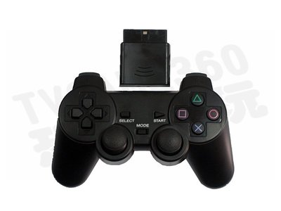 PLAYSTATION 2 PS2 副廠無線控制器 含無線接收器 黑色 搖桿 手把 手柄 把手【台中恐龍電玩】