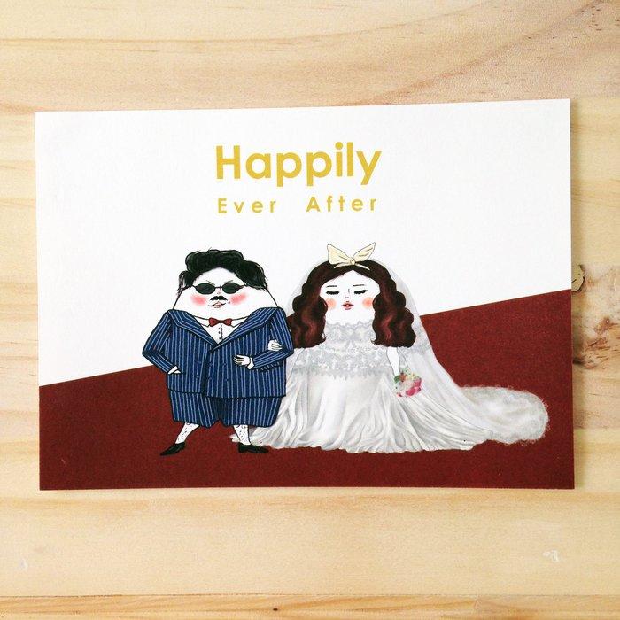 [明信片] 結婚賀卡 蛋定人生-永遠幸福快樂