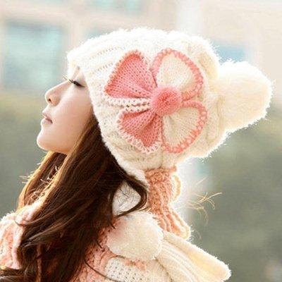 冬季毛線甜美可愛護耳月子帽韓版產婦用品...