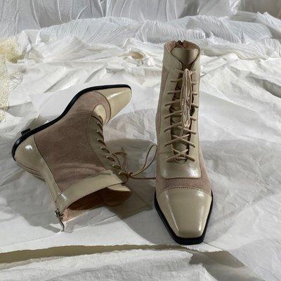 墨染·蓮花府邸冬季短靴方頭時裝靴系帶中跟女靴休閒百搭簡約女靴子時尚