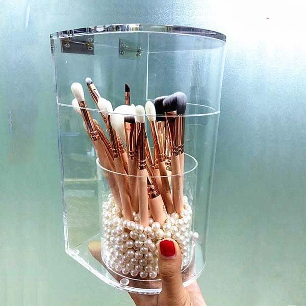 5Cgo【鴿樓】會員有優惠 528149101258 亞克力化妝刷桶防塵刷筒刷子刷具美妝 化妝品收納盒透明有蓋
