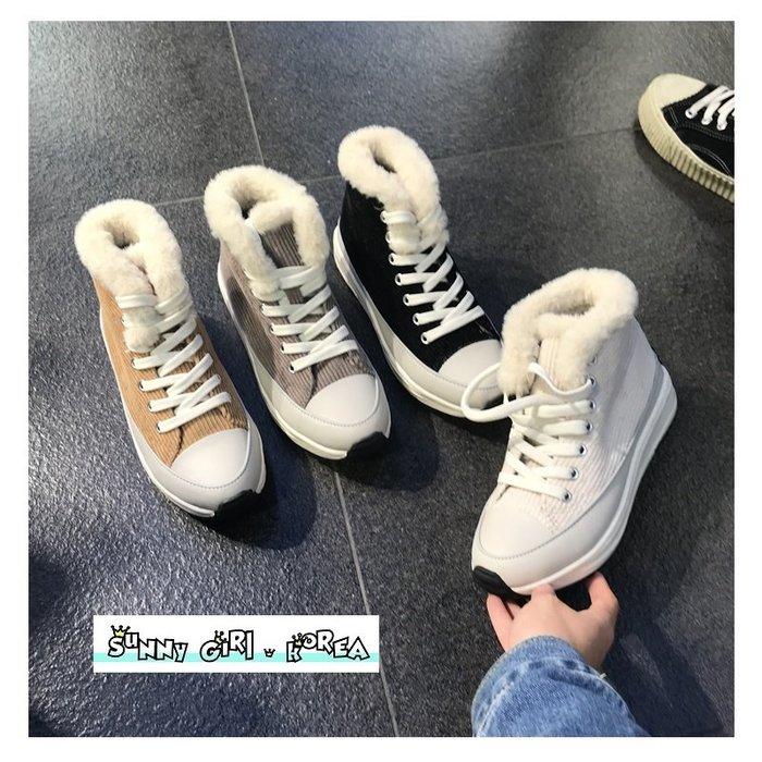 正韓休閒鞋*Sunny Girl*韓國代購加絨保暖燈芯絨厚底松糕鞋 2019十二月新款 - [WH1423]