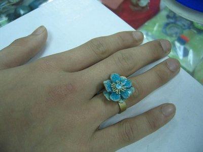 【飾界美~殺很大】歐美品牌 PILGRIM 高質感亮麗藍琺瑯花朵造型戒指~現貨下標即售