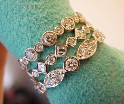 (全新) Tiffany PT950 Jazz 整圈白金鑽石線戒,專櫃價13萬5000元