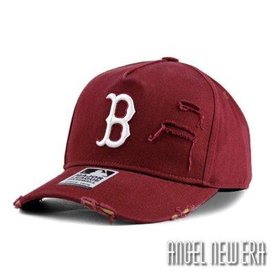 【PD帽饰】【MLB Old Fashioned Cap】波士頓 紅襪 酒紅 破壞布 卡車帽 老帽【ANGEL NEW ERA 】