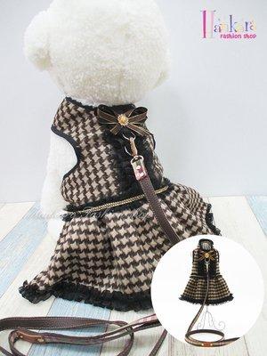 ☆[Hankaro]☆ 寵愛毛小孩咖啡千鳥格紋裙裝胸背含牽繩(共三種尺寸)