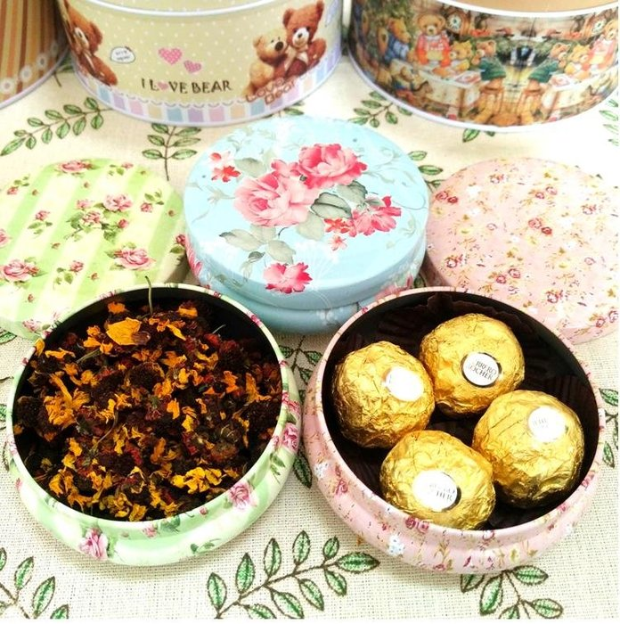 紫滕戀推出圓形鐵盒喜糖伴手禮盒生巧香薰蠟燭手工皂包裝花茶罐