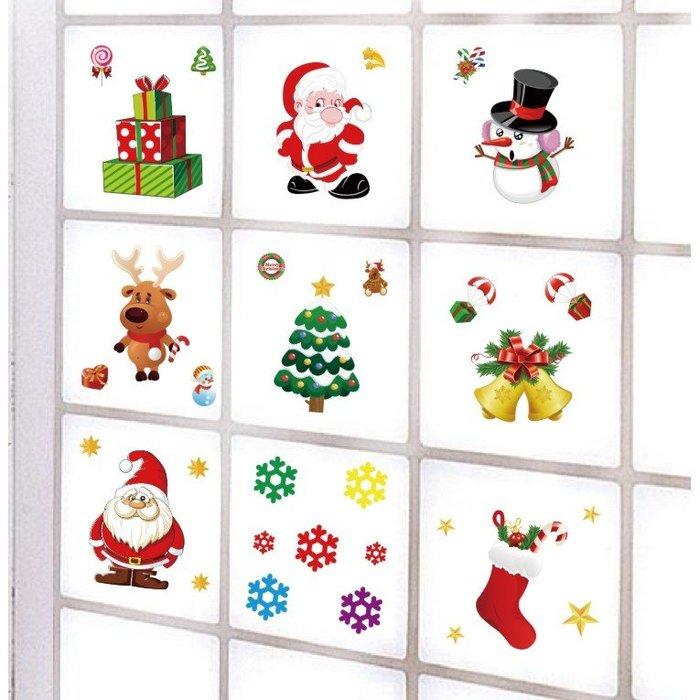 熱銷 聖誕貼畫 聖誕靜電貼 櫥窗裝飾 窗貼 靜電貼 聖誕節 麋鹿 彩色窗貼 聖誕樹 雪花 【CH-01A-10014】