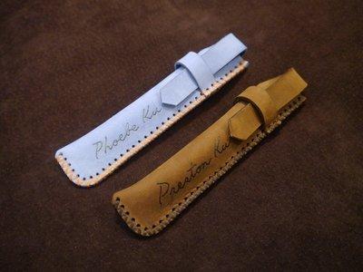 KH手工皮革工作室 MIT全牛皮訂製筆套 手作鋼筆袋鋼珠筆單支筆 收納筆袋 雷射筆 簽字筆套配色自選可燙字