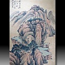 【 金王記拍寶網 】S1828   吳湖帆款 水墨山水圖 手繪水墨書畫 老畫片一張 罕見 稀少