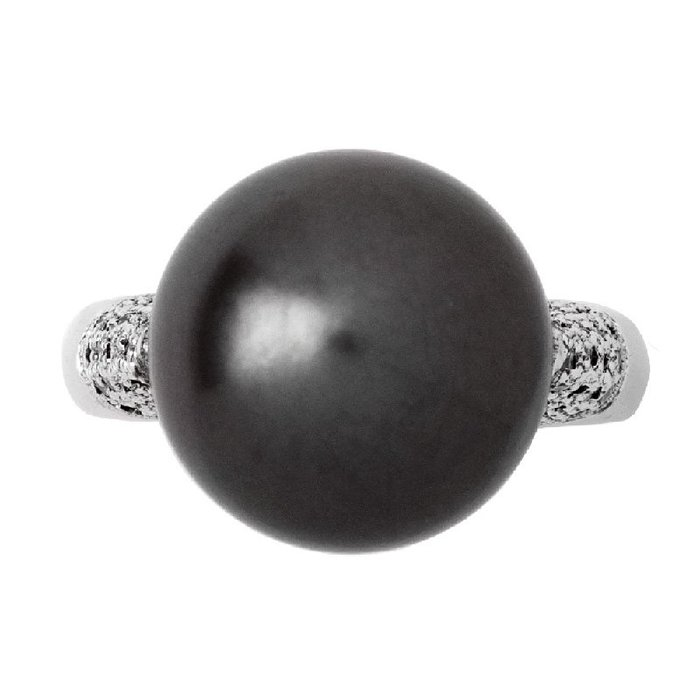 【JHT 金宏總珠寶/GIA鑽石專賣】13mm天然黑珍珠戒指/材質:18K(KBP02-1881_PP00002)