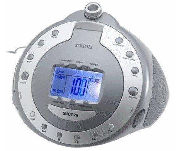 無投影,美國名牌 HoMedics SS-6000 多功能 鬧鐘 ,倒數 定時 收音機 鬧鐘,CD/AM/FM,近全新