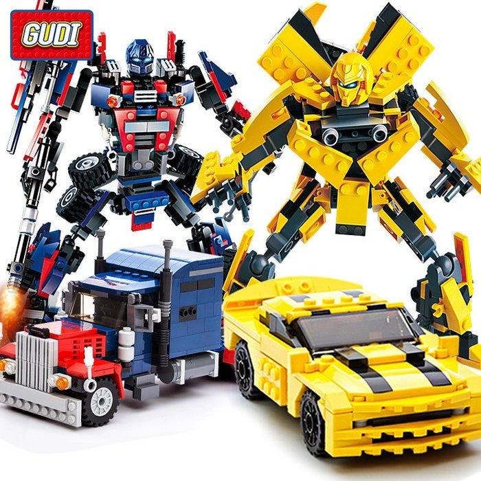 乾一古迪积木兼容乐高男孩益智拼装变形机器人组装金刚大黄蜂拼插玩具