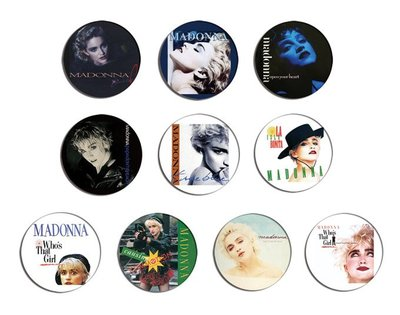 現貨 MADONNA True Blue, Who's That Girl pinback BADGE SET 襟章 徽章 (一套10個)