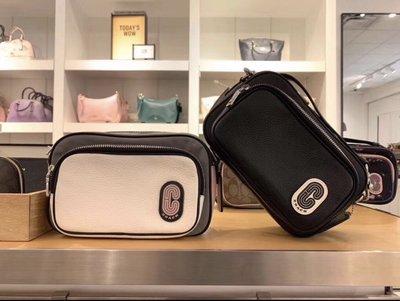 琪琪Outlet代購 Coach 蔻馳 91065 新款帆布拼牛皮雙隔層雙拉鏈相機包 斜跨包 附購買憑證