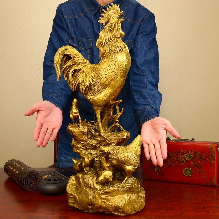 旦旦妙 金雞報曉 金雞報喜金雞納福一鳴驚人家居裝飾品擺件大號破桃花 彩瀝43