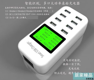 立享9折 蘋果安卓手機通用8口USB多口多孔智慧萬能快充電頭充電器顯示插座【居家極品】