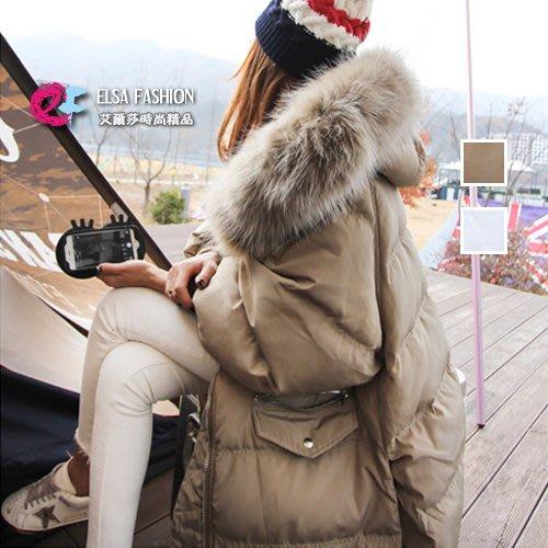 長大衣羽絨外套棉襖棉質外套 暖呼呼皮草側開叉斗篷大衣 艾爾莎【TAK5836】