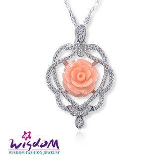 威世登 天然海洋紅珊瑚 浪漫粉紅玫瑰墜飾(不含鍊)-情人禮、生日禮、流行款、熱銷款- CD00097-IIEX