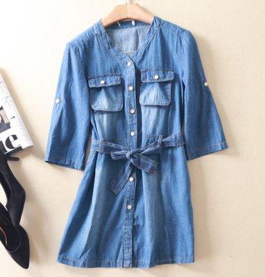 【Mi Ni】日本  可捲袖  腰部繫帶 舊感  刷白  類牛仔 薄款  襯衫式   上衣