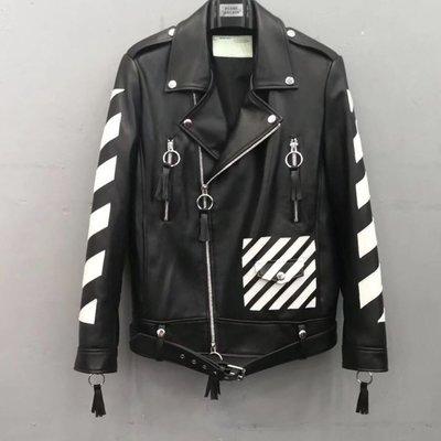 62e2a5fe05  BLACK A 獨家精品潮流品牌Off W 真皮羊皮黑白拚色條紋翻領騎士外套皮衣夾克黑色