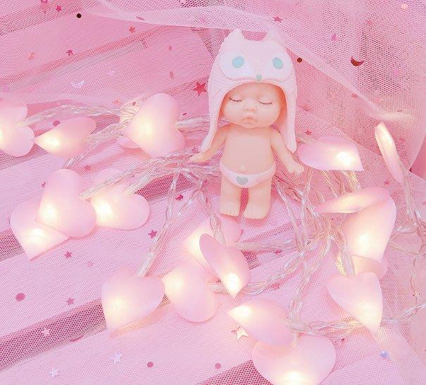 粉色少女心愛心串燈軟妹公主房間裝飾燈照片墻夜燈可愛粉色燈串