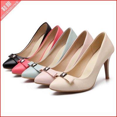 大尺碼*鞋館Shoes hall*【A11056】優雅美型~素面蝴蝶結百搭尖頭高跟鞋~5色~(可訂做大尺碼)