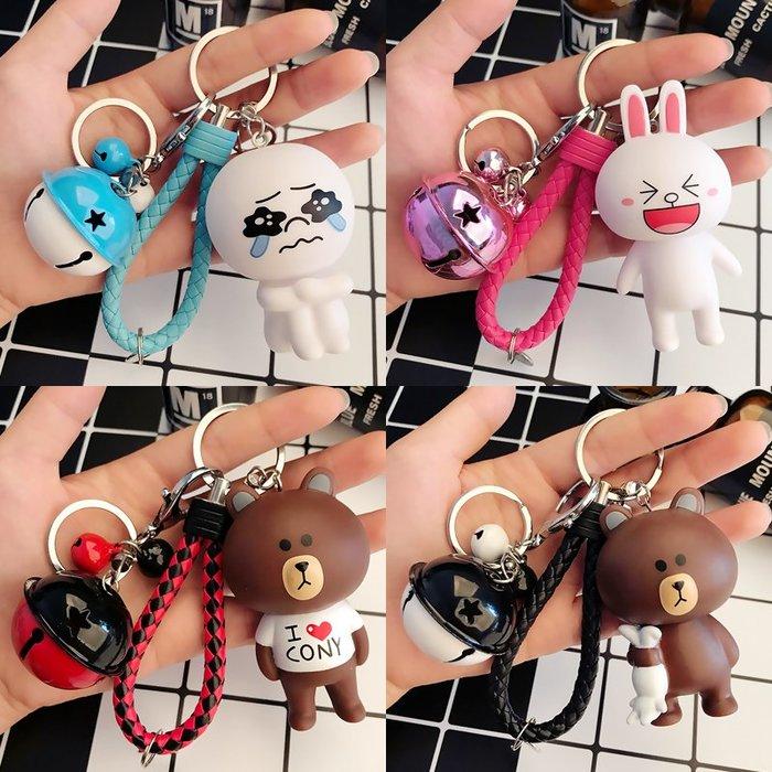 钥匙扣 韓國卡通可愛兔子公仔鑰匙扣創男女士汽車鑰匙鏈圈鈴鐺掛件批發台北百貨