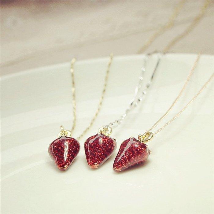 S925純銀可愛草莓鎖骨錬 少女心ins紅色項錬 送閨蜜女友生日禮物