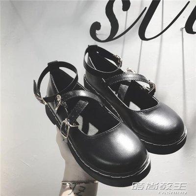 復古學院風女單鞋夏秋新款圓頭鬆糕厚底娃娃鞋日繫包頭小皮鞋